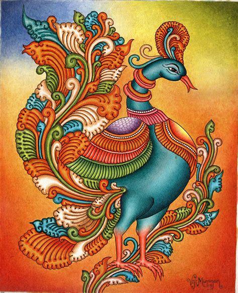 Painting Handmade - kerala mural painting handmade south indian nature bird