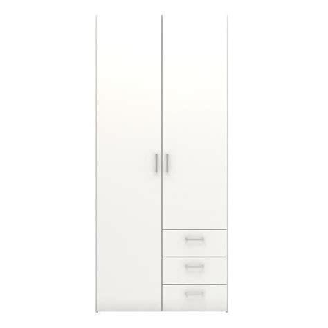 largeur porte chambre space armoire 2 portes 3 tiroirs 77 cm blanc achat