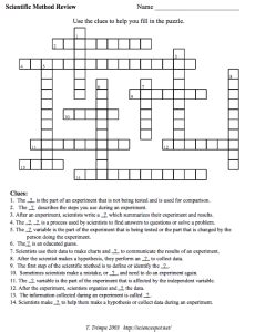 Can You Spot The Scientific Method Worksheet Answers by 4 Scientific Method Crossword Puzzles Your Students Will