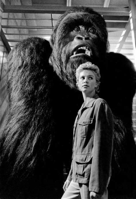 Charlize Theron with animatronic gorilla Mighty Joe