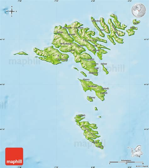 faroe islands map physical map of faroe islands