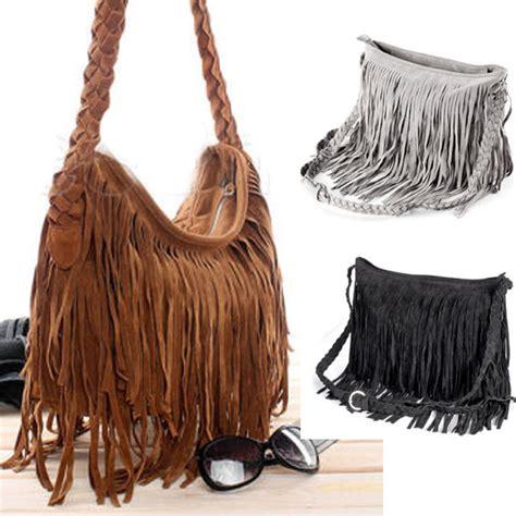 Tas Wanita Imitation Suede Fringe Tassel Shoulder Handbag Faux Suede Leather Tassel Fringe Cross Shoulder