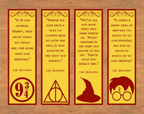 free printable bookmarks with quotes printable bookmarks harry potter bookmarks printable quote