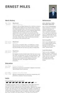 Machinist Resume Template by Machinist Resume Sles Visualcv Resume Sles Database