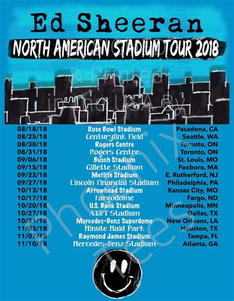 ed sheeran us tour 2018 ed sheeran north american stadium tour 2018 t shirt