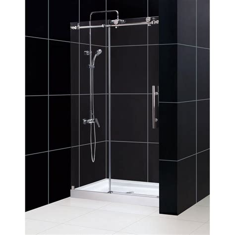 48 Sliding Shower Door Dreamline Enigma X 36 In X 48 In X 78 75 In Frameless Sliding Shower Door In Brushed