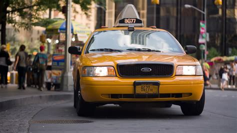new york july 3 2014 yellow cabs near columbus circle