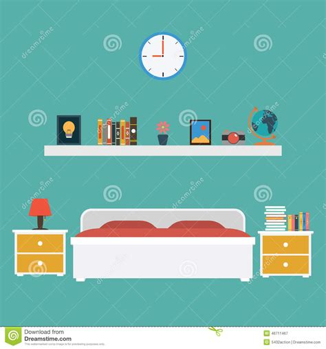 bedroom design vector flat bedroom design in retro colors vector background