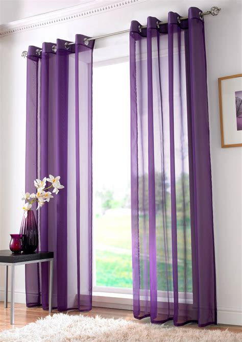 Curtains With Purple In Them Purple Plain Ringtop Eyelet Panel 150cm Net Curtain 2 Curtains