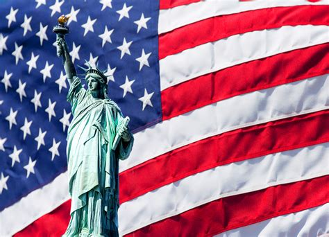 statue of liberty and flag 4th of july clipart