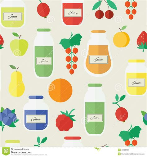 juice pattern vector jam and juice seamless pattern in flat style stock vector