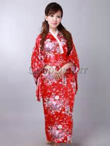 Traditional cheap japanese clothing with flower print in red