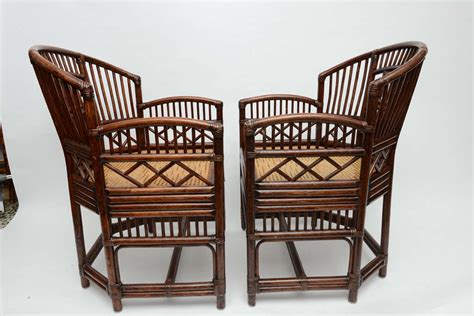 vintage wicker barrel chairs two pairs of vintage bamboo rattan barrel chairs at 1stdibs