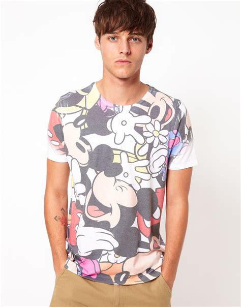 Asos Printed T Shirt Mens by Lyst Asos T Shirt With Mickey All Sublimation Print In White For