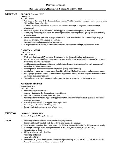 Qa Analyst Resume by Analyst Qa Analyst Resume Sles Velvet