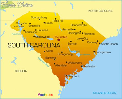 political map of south carolina south carolina map travelsfinders