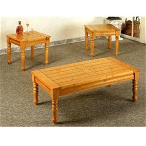 Pine Coffee Table Set 3 Pc Coffee And End Table Set In Pine Finish 5110 Co Idollarstore