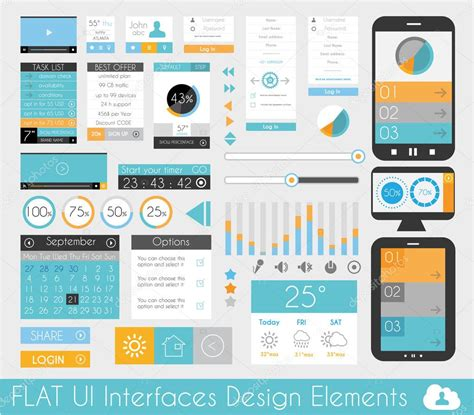 design html ui ui flat design elements for web and infographics stock