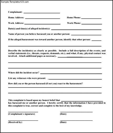 Complaint Letter Sle Against A Employee complaint template 28 images customer complaints form