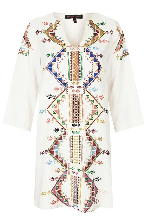 Topshop Patchwork Dress - topshop embroidered smock dress by kate moss for in
