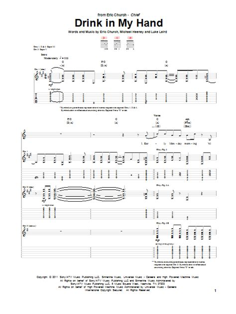 eric church guitar tabs drink in my hand by eric church guitar tab guitar