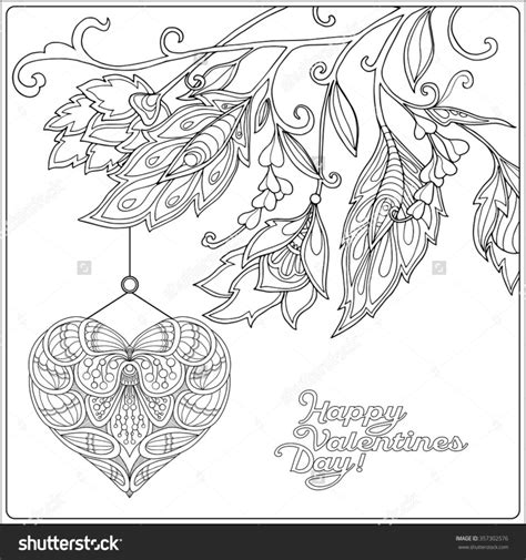 Coloring Pages Happy Valentine Day Card With Decorative Valentines Day Coloring Pages For Adults