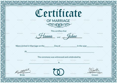 wedding certificate templates formal marriage certificate design template in psd word