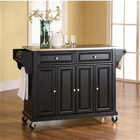 crosley furniture lafayette stainless steel top black crosley furniture stainless steel top kitchen cart or