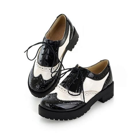 black and white oxfords shoes size 34 43 new 2016 vintage black white toe leather