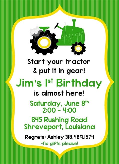 printable john deere birthday invitations free john deere tractor birthday invitation party ideas