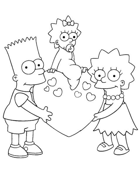 coloring pages of the simpsons christmas bart maggie and lisa coloring page to print or download