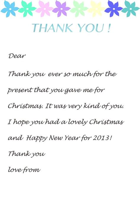 thank you letter to child s sle thank you letter template for