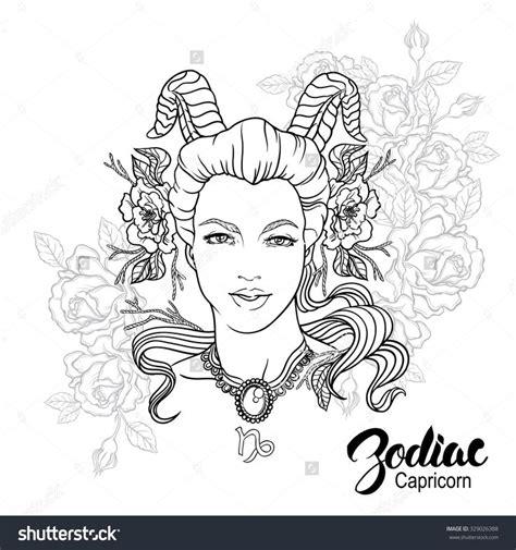 zodiac capricorn girl coloring page shutterstock