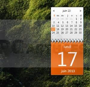 afficher un calendrier sur le bureau windows 7