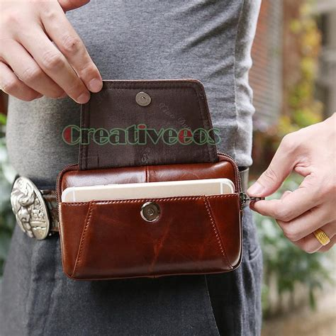 men oil wax genuine leather vintage travel hiking cell