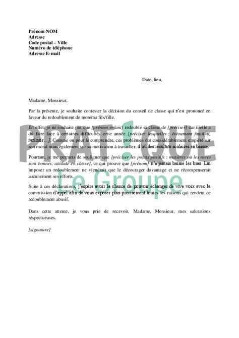 Lettre De Recours Pour Un Refus De Visa Court Sã Jour Lettre De Contestation Du Redoublement D Un Enfant Pratique Fr