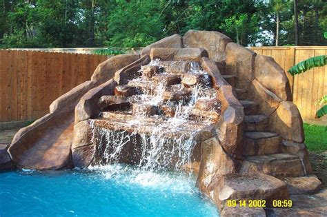 Backyard Pools With Rock Slides Pool Waterfall And Slide Pools Awesome