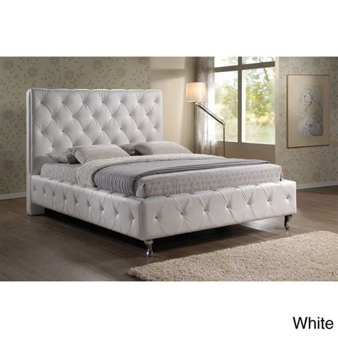 Overstock Upholstered Bed by Stella Tufted White Modern Bed With Upholstered