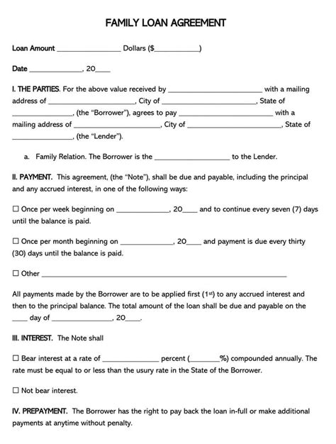 family loan agreement forms  templates wordpdf