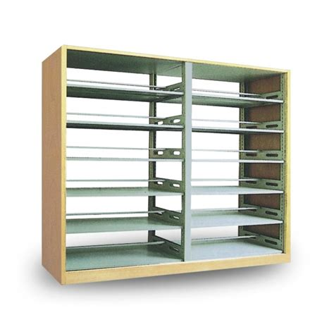 library furniture steel bookshelf with wooden protecting