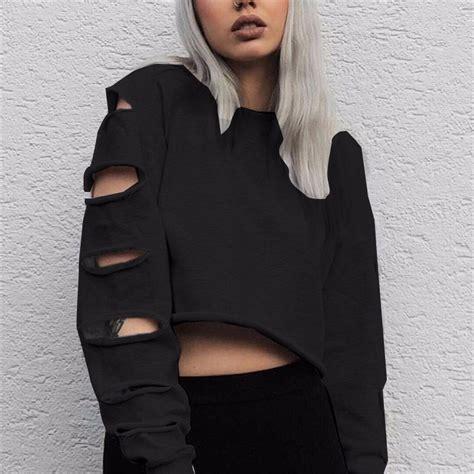 Hoodie Hollow 2 Xxxv Cloth oversized zanzea ripped hollow sleeve crop tops pullover sweatshirt hoodie ebay