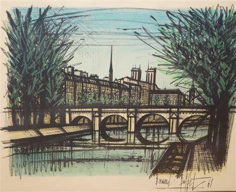 bernard buffet lithograph signed le pont neuf bridge