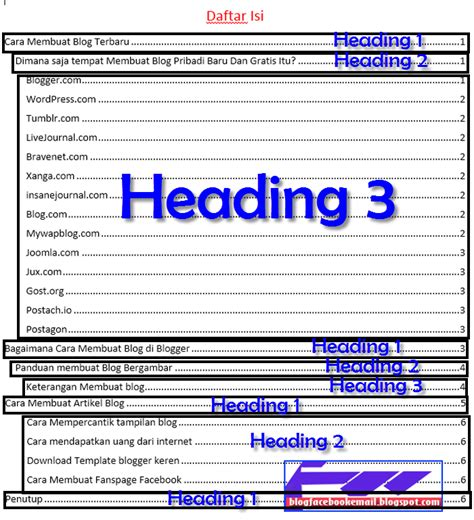 tutorial membuat daftar isi di word 2013 cara membuat daftar isi table of contents otomatis di