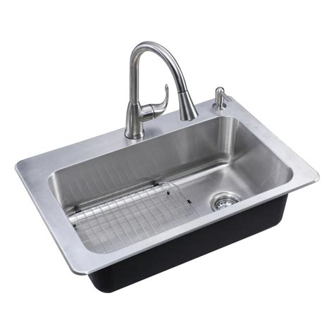Glacier Bay All In One Drop In Stainless Steel 33 In 2 Single Kitchen Sinks