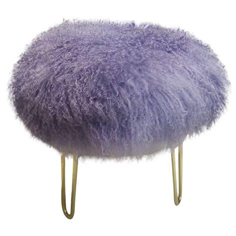 mongolian fur bar stool genuine mongolian lavender fur stool chairish