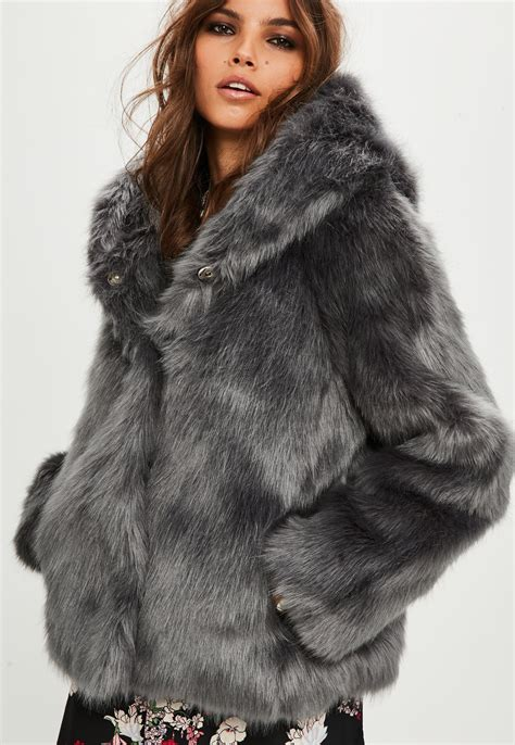 Faux Fur Hooded Coat lyst missguided premium grey faux fur hooded coat in gray
