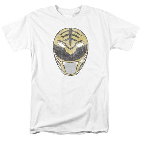Power White Shirt power rangers t shirt white ranger mask mens white