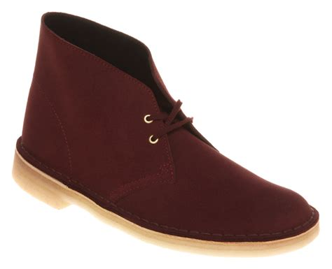 clarks desert boot burgundy suede in purple for