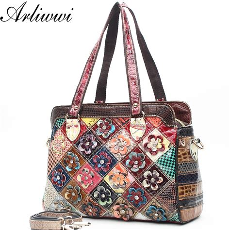 Handmade Patchwork Bags - real patent leather shiny handmade patchwork shoulder bag