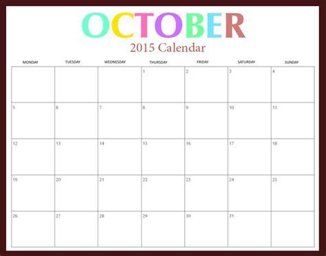 calendar october printable